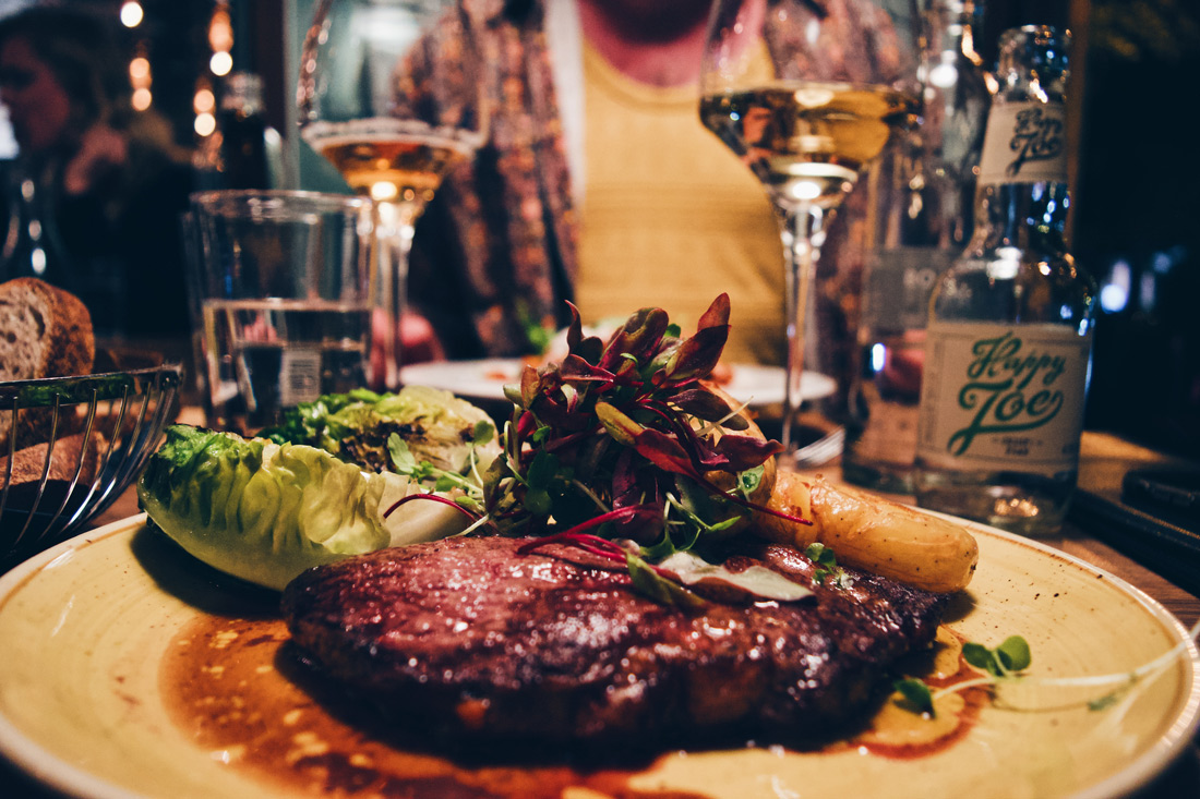 And a delicious Black Angus entrecôte with salad, roasted potatoes for Karl   Klaus K Hotel Helsinki Gay-friendly Tom of Finland Package © Coupleofmen.com